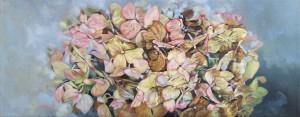 """""""Hortensie"""", Öl auf LW, 20x50cm, 2016"""